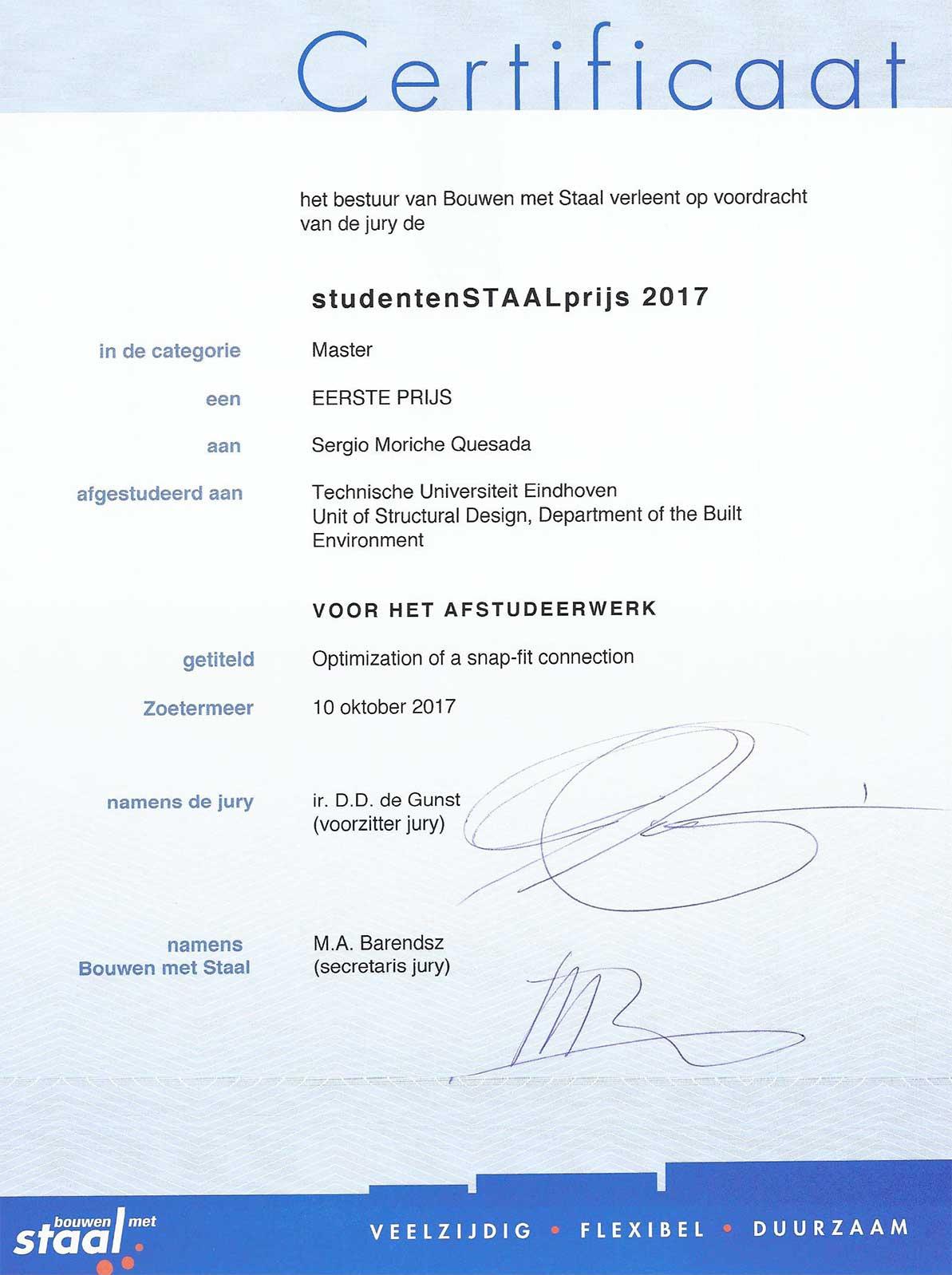 Certificaat Studenten Staal Prijs 2017